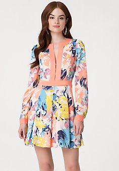 Print Pleated Dress