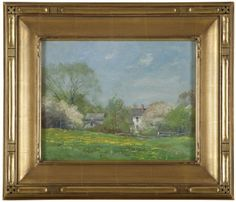 ''In May'', spring landscape with houses, signed lower left: Alex Fournier, signed again and titled verso, oil on board, 10.25'' H x 13.25'' W, est: $3000/5000