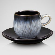 """Denby Pottery - Halo espresso cup and sacuer This best-selling range is made with a black speckle in a soft glaze, which creates a stunning """"pulled"""" texture. Denby Pottery, Espresso Cups, China Patterns, Dinner Sets, Ceramic Plates, Cup And Saucer, Coffee Shop, Dinnerware, Stoneware"""