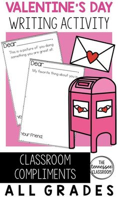 Valentine's Day is a day to spread Kindness in the Classroom! With this Valentine's Day writing activity, your students will be prompted to write compliments to each other. This will build your classroom community! It's am engaging, easy, simple Valentine