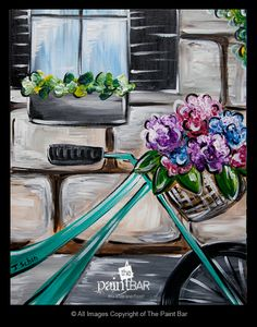 Bicycle Flower Basket Painting - Jackie Schon, The Paint Bar