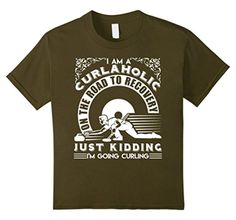 Kids Curling Shirt - I Am A Curlalohic Shirt 10 Olive - Brought to you by Avarsha.com