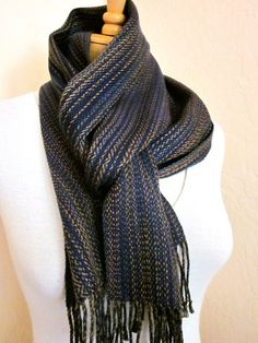 Navy and Gold Scarf  Handwoven in Tencel by WovenDesigns on Etsy #sfetsy2013