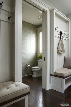Home Ideas from KOHLER - mudroom w/ adjacent powder room (half bath)