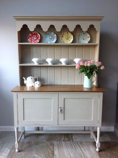 Antique Hand Painted Solid Oak Grey Welsh Open Dresser Cupboard Kitchen Unit Annie Sloan Country Grey Rustic Shabby Chic by ClyneCoFurniture on Etsy