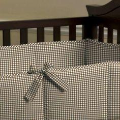 Chocolate Brown Gingham Crib Bumper 500x500 image