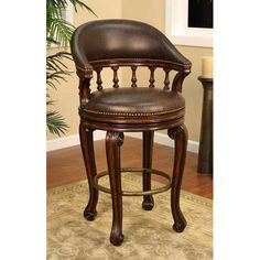 Giovanni Canyon Bar Stool With Roma Leather Cushion Bar Height (28 To 36 Inch) Bar Stools