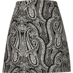 Black paisley print A-line mini skirt ($21) ❤ liked on Polyvore featuring skirts, mini skirts, sale, high waisted short skirts, high-waist skirt, high waisted mini skirt, high-waisted skirts y tall skirts