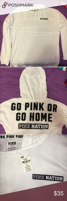 VS PINK Nation hooded pullover Brand new | Small | exclusive and limited edition hooded pullover. Perfect to pair with shorts or leggings. Super cute and a must have PINK Victoria's Secret Tops Sweatshirts & Hoodies