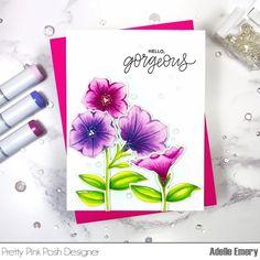 PPP Pretty Petunias stamp set and coordinating dies My Flower, Flowers, Pretty Pink Posh, White Gel Pen, Making Greeting Cards, Spring Sale, My Stamp, Petunias, Gel Pens