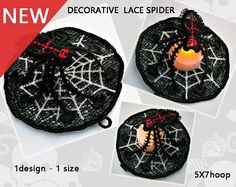 Decorative Spider lace  No.409  Halloween  ITH  free