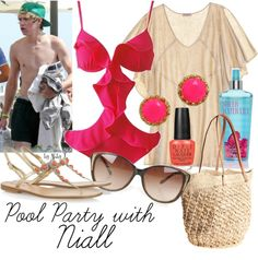 """""""Pool Party outfit"""" by abbytamase on Polyvore.  This is a really pretty look for summer, though probably not practical for actually swimming ;)."""