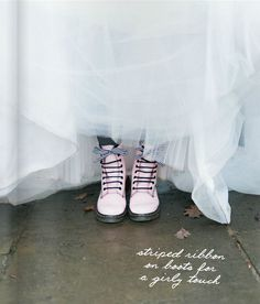 Pastel pink doc martens with wedding dress. Modern punk rock bride.