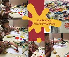 Loads of preschool paint projects plus tips for being organised and minimising mess as well as what do to with all those creations. Learning Games For Preschoolers, Preschool Games, Learning Toys, Toddler Toys, Baby Toys, Fine Motor Skills, Pre School, Pretty Cool, Educational Toys