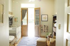 School-house inspired nursery - such a fresh and calming room for baby!