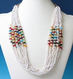 White Seed Bead Necklace Faux Pearls Multi Color by PastSplendors