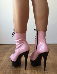 BABE Ankle Platform Laceup Zip Bootie Kawaii Punk Patent Baby Pin – Refuse to be Usual Extreme High Heels, Hot High Heels, Platform High Heels, Platform Boots, High Heels Stilettos, High Heel Boots, Womens High Heels, Stiletto Heels, Sexy Heels