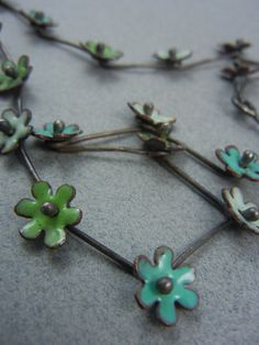 Enameled flower necklace by KirstenDenbowDesigns on Etsy, $225.00