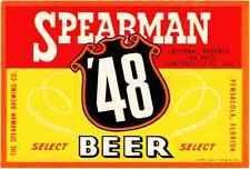 SPEARMAN '48 BEER LABEL - WATERSLIDE DECAL