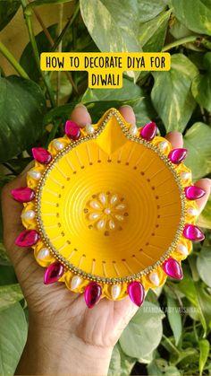 Diy Diwali Decorations, Festival Decorations, Christmas Decorations, Christmas Cards, Diwali Diy, Diwali Food, Art Painting Tools, Diy Clothes Life Hacks, Ribbon Embroidery Tutorial