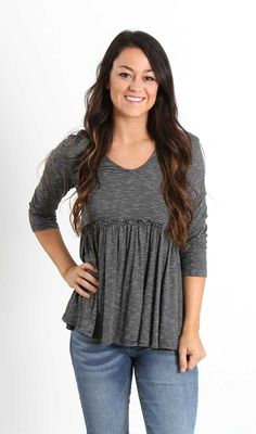 Lime N Chili Babydoll Striped Three Quarter Sleeve Top for Women in Charcoal LT2883-CHARCOAL