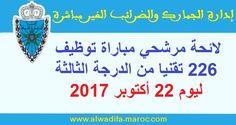Liste des candidats classés par centre de concours et par ordre alphabétique convoqués aux épreuves écrites le dimanche 22/10/2017 à 07H30