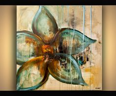 Original abstract art paintings by Osnat - raw abstract flower painting blue rust acrylic painting