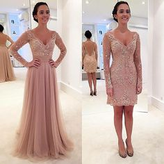 Modest A Line V Neck Tulle Floor Length Lace Appliques Long Sleeves Evening Dress with Detachable Skirt -in Evening Dresses from Weddings & Events on Aliexpress.com | Alibaba Group