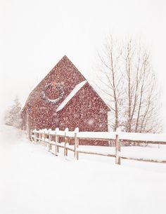 Red barn at Christmas ~♥~