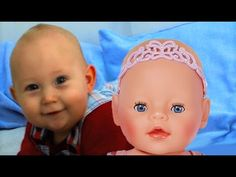 Baby Dolls' first meeting. Baby boy and Baby Born Baby doll see each oth...