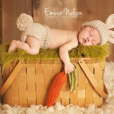 Knit Easter Bunny Hat and Diaper Cover with Carrot Set