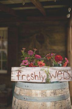 Barn wedding sign