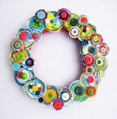 Canvas Layers Button Wreath tutorial by Alisa Burke Wreath Crafts, Diy Wreath, Diy Crafts, Wreath Ideas, Fabric Wreath, Felt Wreath, Button Decorations, Handmade Christmas Decorations, Homemade Christmas Crafts