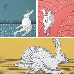 Hares set of 3 Screen Prints