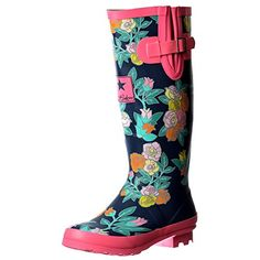 Onlineshoe Womens Funky Flat Wellie Wellington Festival Rain Boots Assorted Colours Uk4  Eu37  Us6  Au5 *** Read more reviews of the product by visiting the link on the image.(This is an Amazon affiliate link and I receive a commission for the sales)