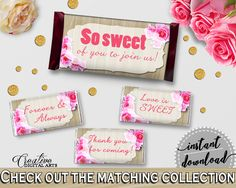 Pink And Beige Roses On Wood Bridal Shower Theme: Hershey Mini And Standard Wrappers - hershey wrappers, party theme, party decor - B9MAI #bridalshower #bride-to-be #bridetobe