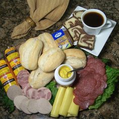 German Brunch! Gelbwurst, Krakauer, Salami, Butter Cheese, Broetchen, Rum Liquor Cake, Mustard, Unsalted Butter, & Coffee!
