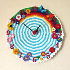 Crochet clock by AnniesGranny Clock Faces, Tutorial, Clocks, Mirrors, Picture Frames, Tatting, Crocheting, Creativity, Number