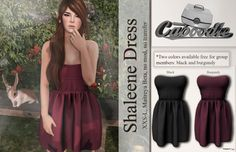 Shaleene Dress Black and Burgundy Group Gift by Caboodle | Teleport Hub - Second Life Freebies