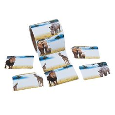 $4.99/roll of 100 Realistic+Safari+Animal+Name+Tags/Labels+-+OrientalTrading.com