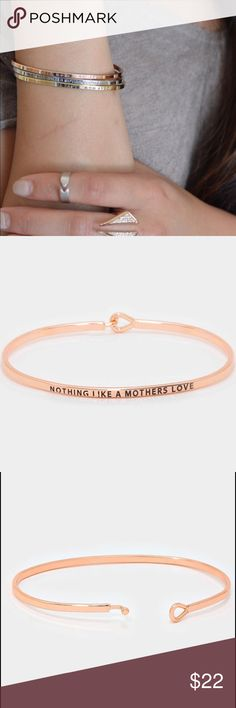 "⚜Nothing like a mother's love bracelet⚜ ""Nothing like a mother's love"" metal hook bracelet in rose gold Size: 0.2"" H, 2.5""D Farah Jewelry Jewelry Bracelets"