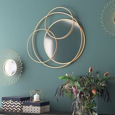 Wilford Five Teardrops Wall Mirror Traditional Wall Mirrors, Contemporary Wall Mirrors, Wall Mounted Mirror, Mirror Set, Mirrors Wayfair, Gold Walls, Mid Century Decor, Metal Flowers, Round Mirrors