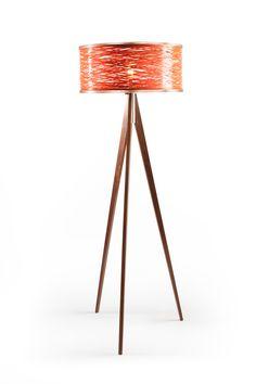 Sinuous Floor Lamp in Orange - Walnut trim