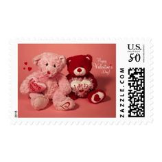 Happy Valentineu0027s Day Teddy Bears Postage   Valentines Day Gifts Gift Idea  Diy Customize Special Couple