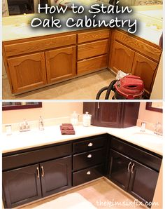 The Kim Six Fix: How to Stain Oak Cabinetry (Tutorial). Everyone has been telling me I should paint my kitchen cupboards. However, I like the idea of restraining them better. Hmm