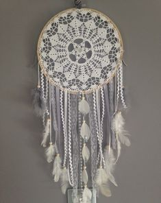 Dream catcher in crocheted lace colour white and by MarcelMeduse