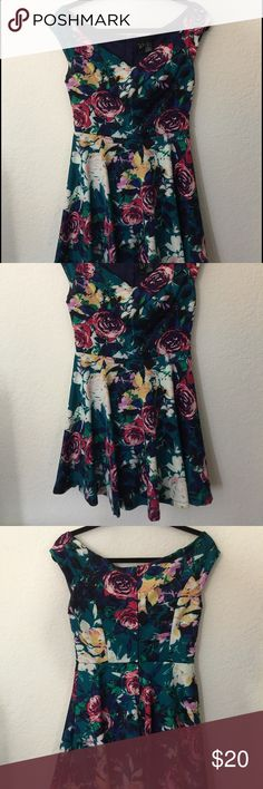 Windsor off-the-shoulder Floral Dress Super cute, medium-sized turquoise (more on the greener side than blue, greenish blue) floral (pink, yellow, white and blue flowers) dress! Super girly! I wore it once to a special event and took very good care of it! WINDSOR Dresses