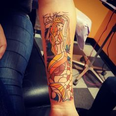 Awesome tattoo of the stain glass mermaid in the prefects bathroom in Harry Potter!