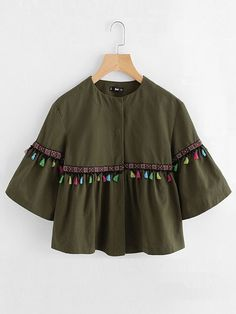 Shein Bell Sleeve Tassel And Embroidered Tape Detail Jacket Femme Hijab,  Automne, Franges, 19accfa02cc
