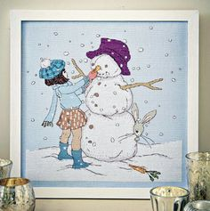 Snow Buddies - Available in CrossStitcher Magazine 284 Downloadable PDF Pattern In: http://belleandboo.com/cross-stitch-patterns/1391--snowman-cross-stitch-pattern.html